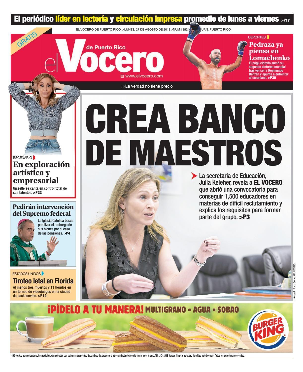 Edición Del 27 De Agosto De 2018 27 De Agosto Puerto Rico Edicion