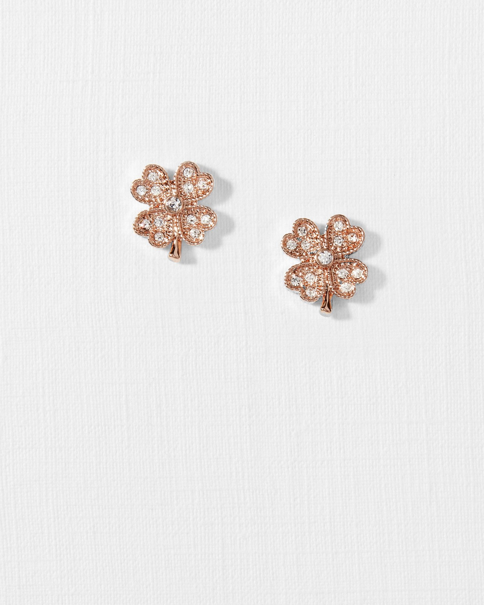 d74d435ab Crystal Clover Earrings   Products in 2019   Rose gold earrings ...