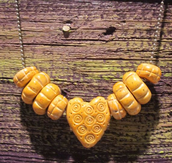 Golden Heart Polymer Clay Fun Necklace by blessen on Etsy, $20.00  Barb Lessen Sunny Designs Jewelry