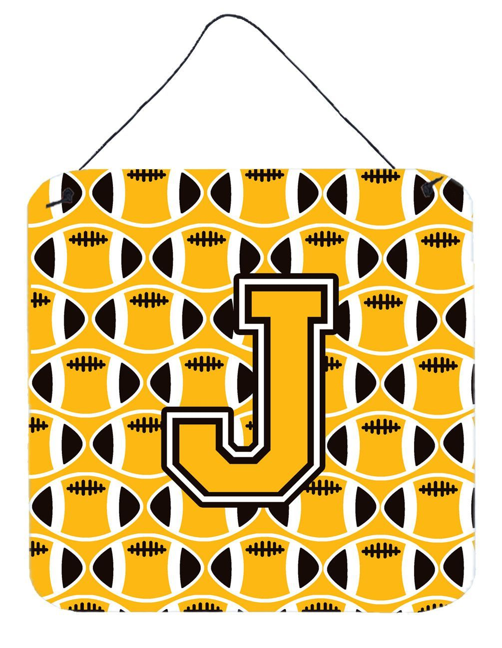 Letter j football black old gold and white wall or door hanging
