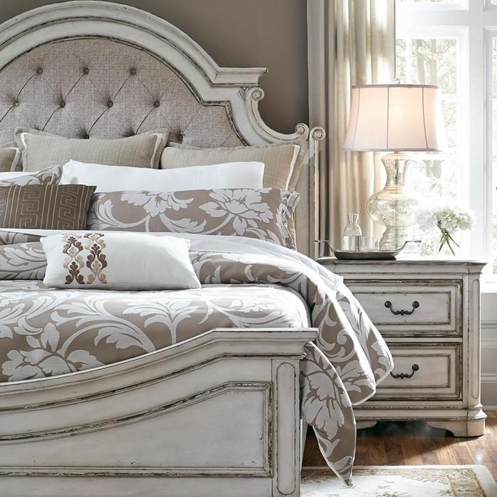 Magnolia Manor 4 Piece Queen Bedroom Set in Antique White | Nebraska ...