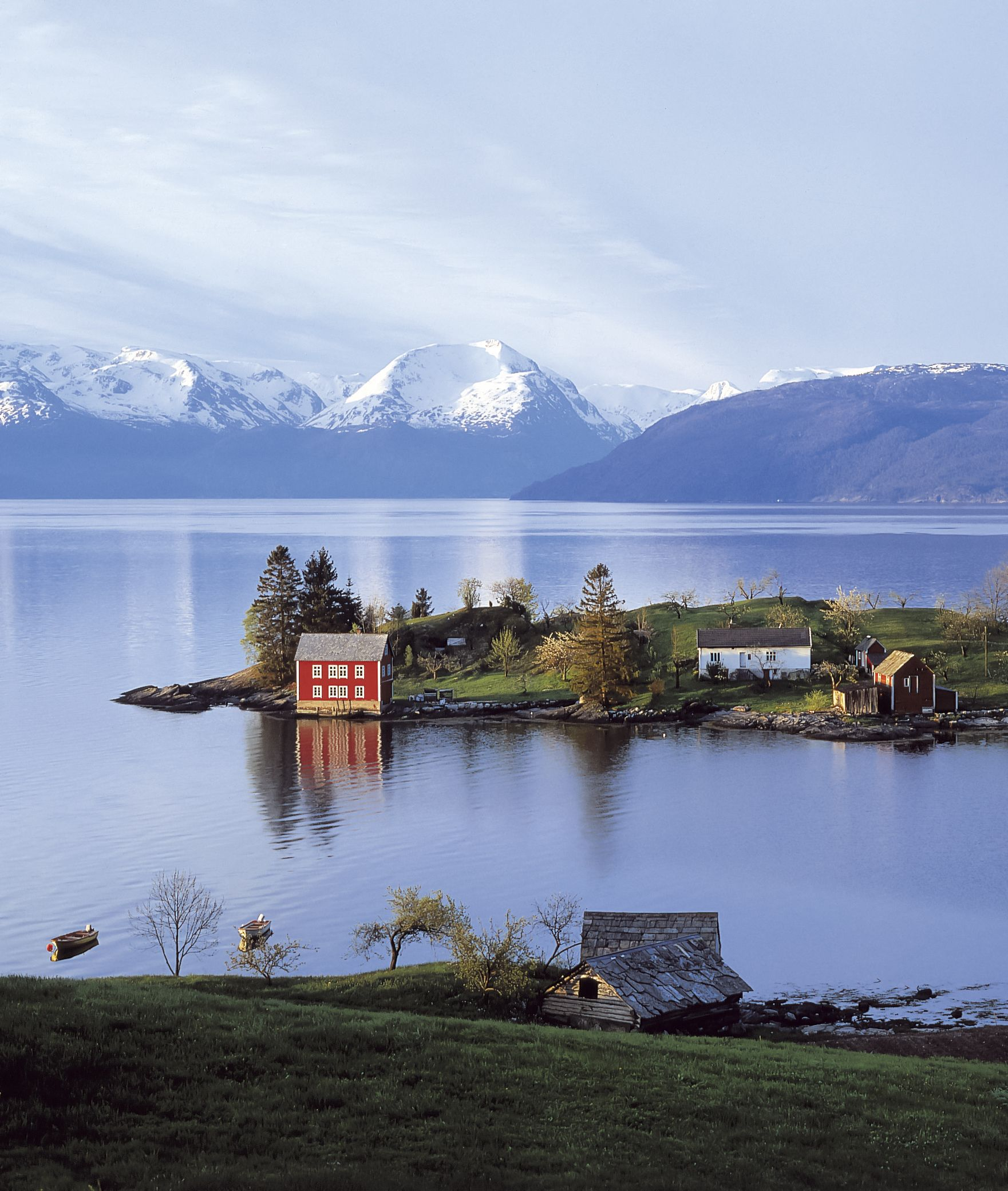 Omaholmen island in the Hardangerfjord, Norway