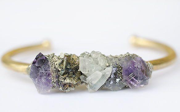 Raw Stein Armreif-Amethyst, Bergkristall und Kristallsteine Pyrit-Boho Kristall