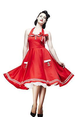 4a0eaffb0099a HELL BUNNY RED MOTLEY 50 S SAILOR SKULL PIN UP DRESS 18 20 22 PLUS SIZE NEW  TAGS