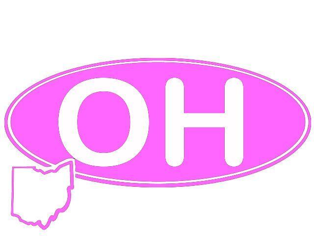 "QAA ""OH"" U.S.A. - OHIO STATE - OVAL DECAL"
