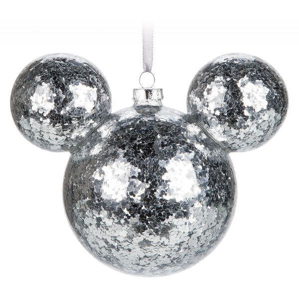 Mickey Mouse Icon Glass Ornament Silver Confetti (495 MXN) ❤ liked on Polyvore featuring home, home decor, holiday decorations, holiday ornament, silver home decor, silver glass ornaments and glass holiday ornaments