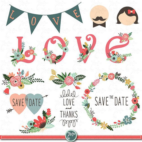 Wedding Clipart DesignWedding Floral Van YenzArtHaut Op Etsy