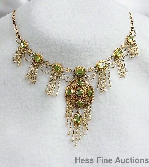 Extraordinary Handmade Antique Peridot 14K Gold Nat Pearl Chandelier Necklace