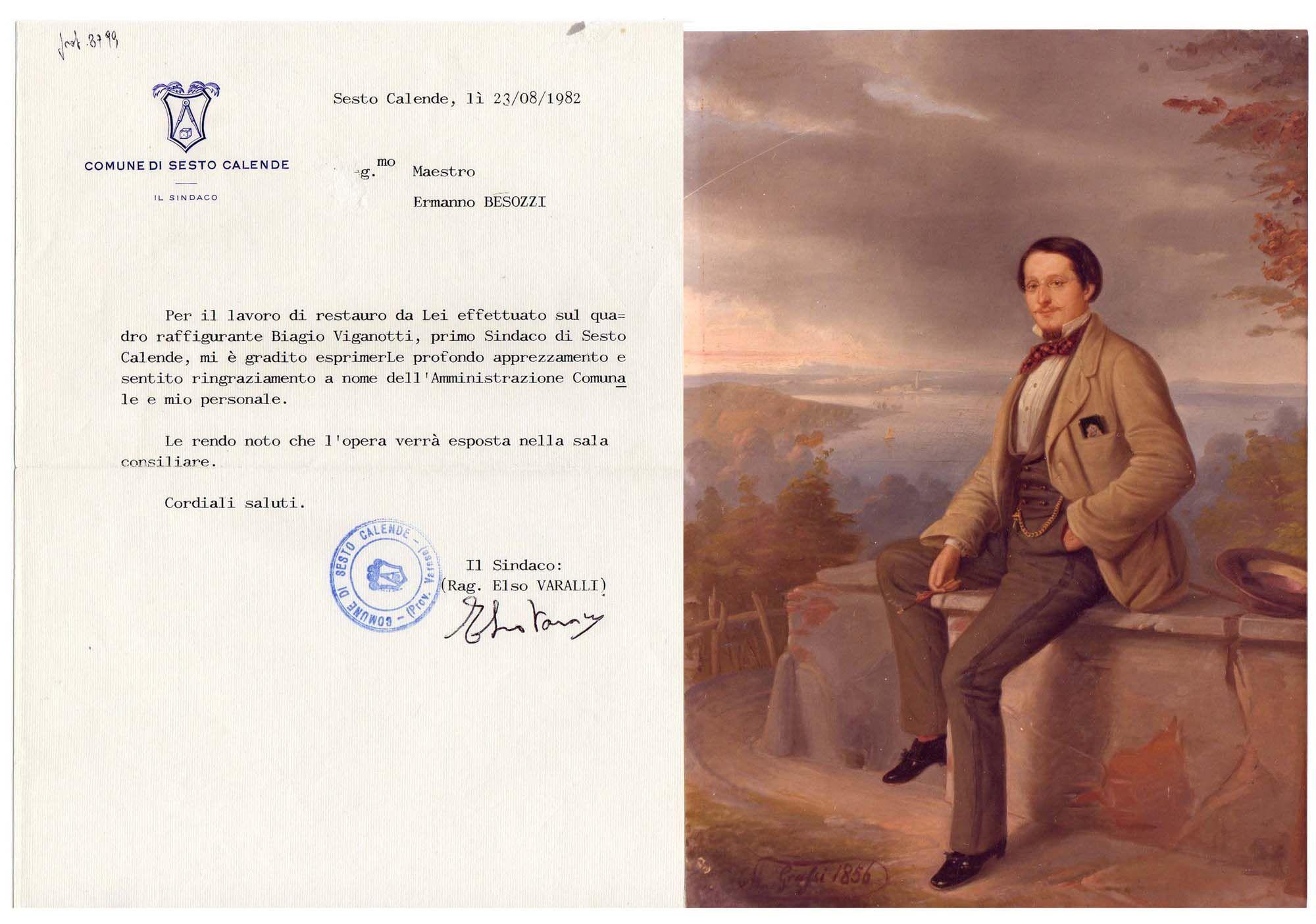 1982 Lettera per restauro quadro i Sindaco di Sesto Calende eseguito da Besozzi