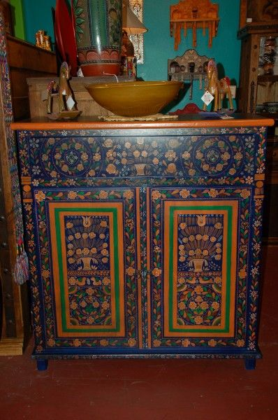 Painted Mexican Furniture Cabinet Covered In Detailed Flowers This Piece Of