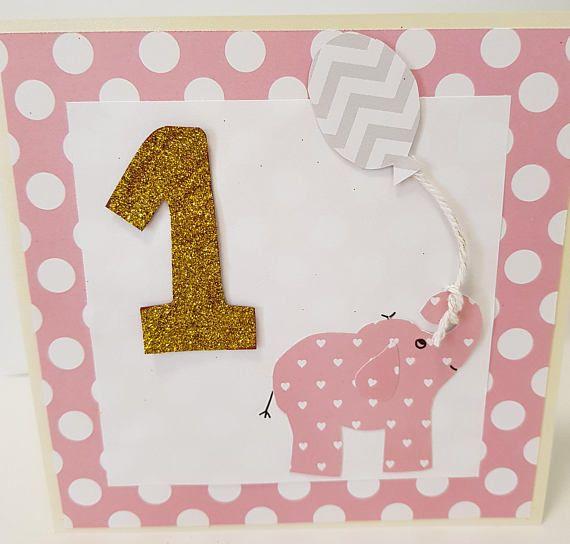 1st Birthday Cards Baby Elephant Cards Milestone Card Baby Toddler