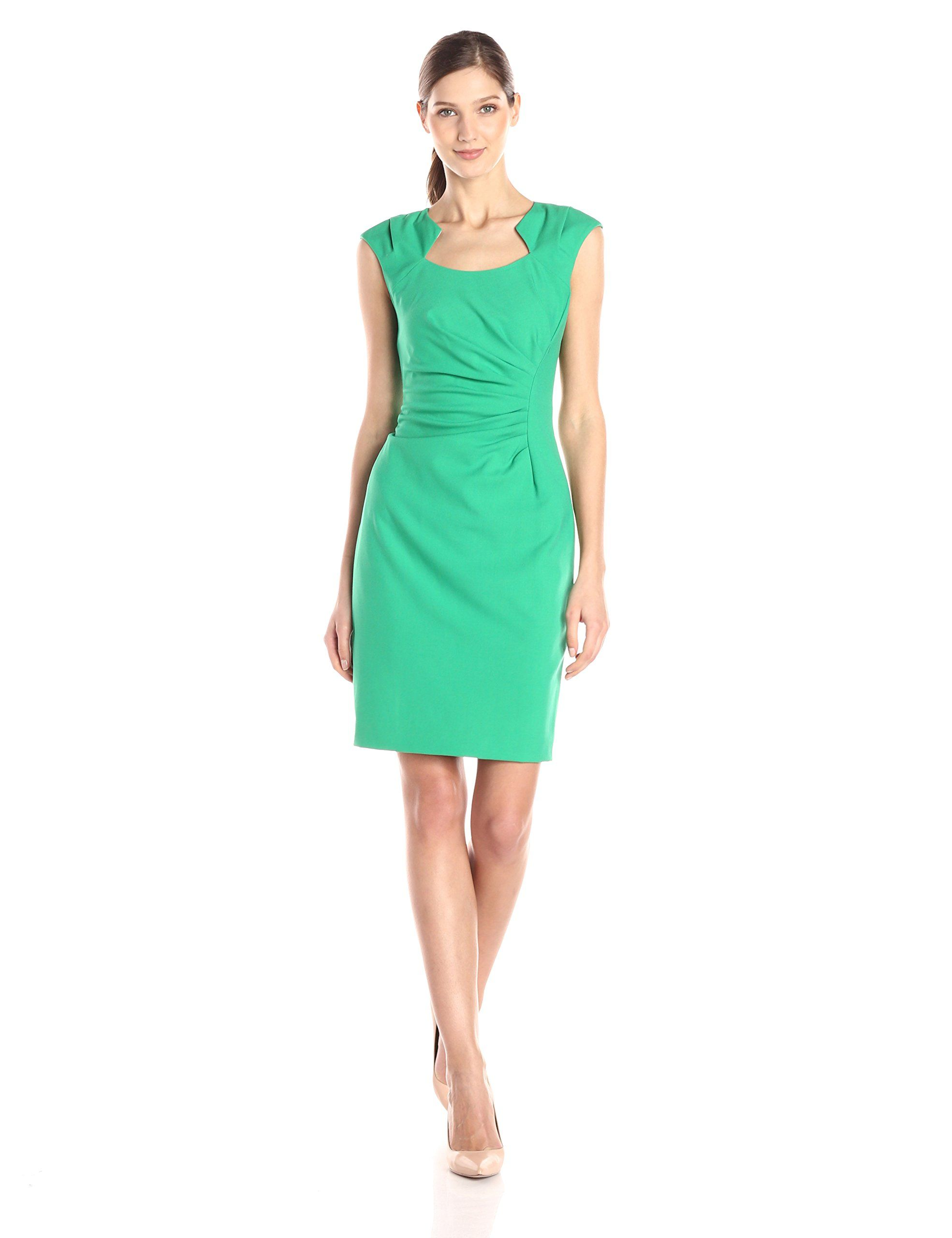 ead39ceb CALVIN KLEIN 3250 Women's Cap-Sleeve Ruched Sheath Dress. Taille 46 ...