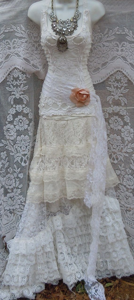 White mermaid Dress tiered ivory lace vintage by vintageopulence