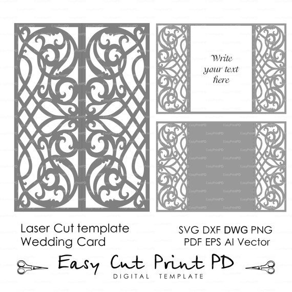 Card template swirls stencil scroll door gate folds wedding card template swirls stencil scroll door gate folds wedding invitation 5x7 svg dxf ai eps png laser cut instant download silhouette cameo convites stopboris Gallery