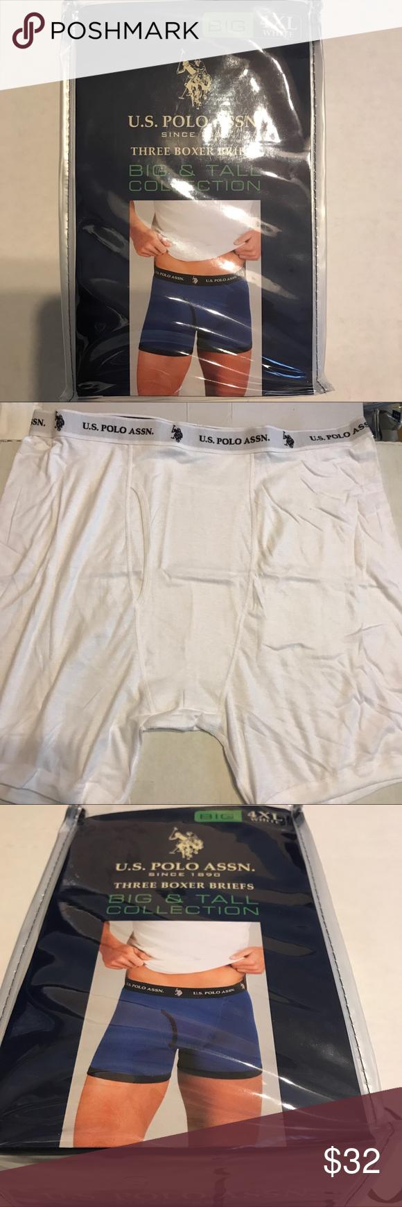 5627012ca83b U S Polo Assn Boxer Briefs 4XL White 3-pack U. S. Polo Assn. Big 3XL size  Mens White Boxer Briefs. 100% cotton. See photo of size chart.