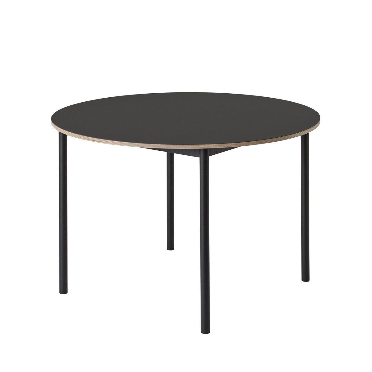 Muuto - Base Table Ø 110 Cm, Laminat Mit Sperrholzkante / Weiß