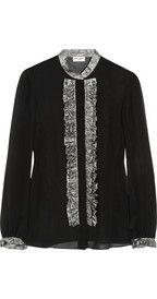 Saint LaurentLamé-ruffled silk-chiffon blouse