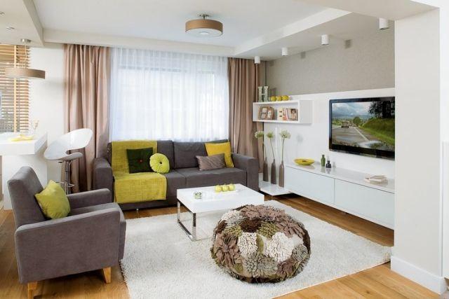 wohnzimmer modern einrichten graue-sitzmoebel-weisse-wohnwand