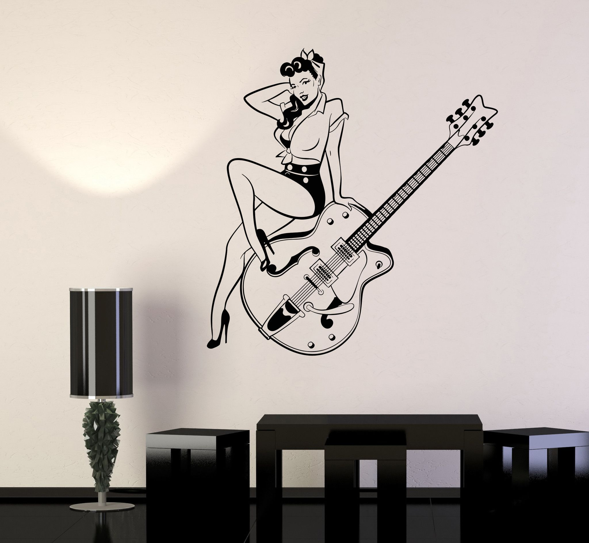 Vinyl wall decal pin up style retro girl guitar musical instruments store stickers 976ig