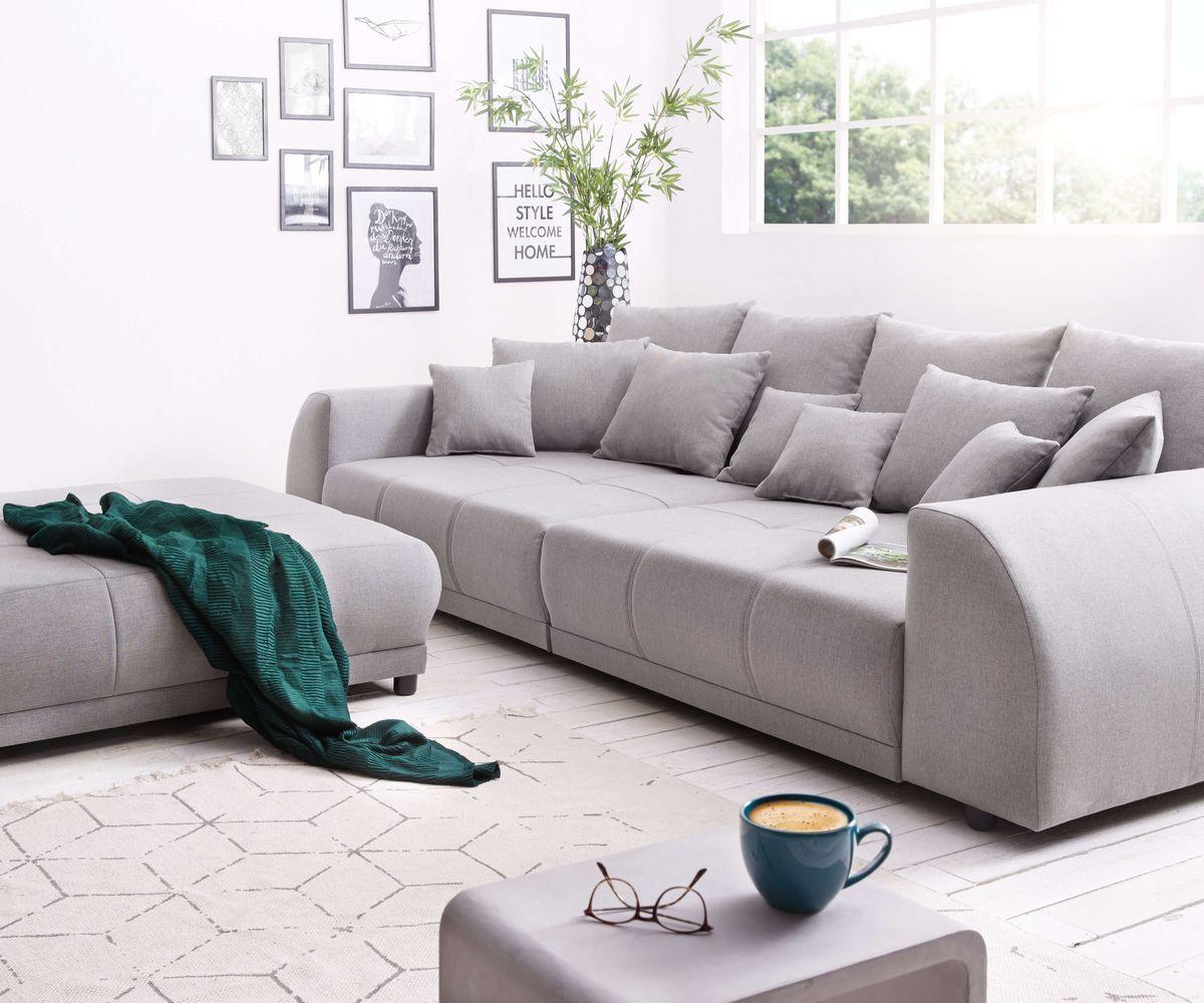 Big Sofa Violetta 310x135 Cm Grau Inklusive Hocker