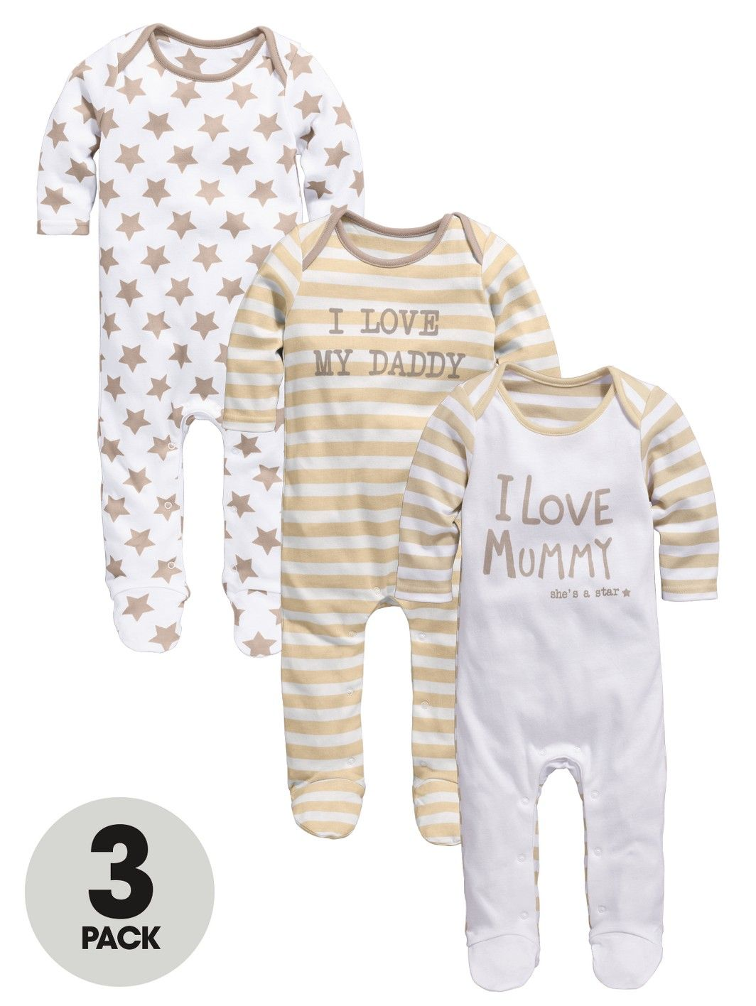 Ladybird I Love Mummy And Daddy Baby Sleepsuits 3 Pack