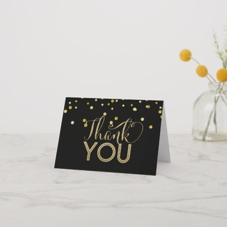 Black And Faux Gold Thank You Cards Zazzle Com Thank You Cards Your Cards Cards