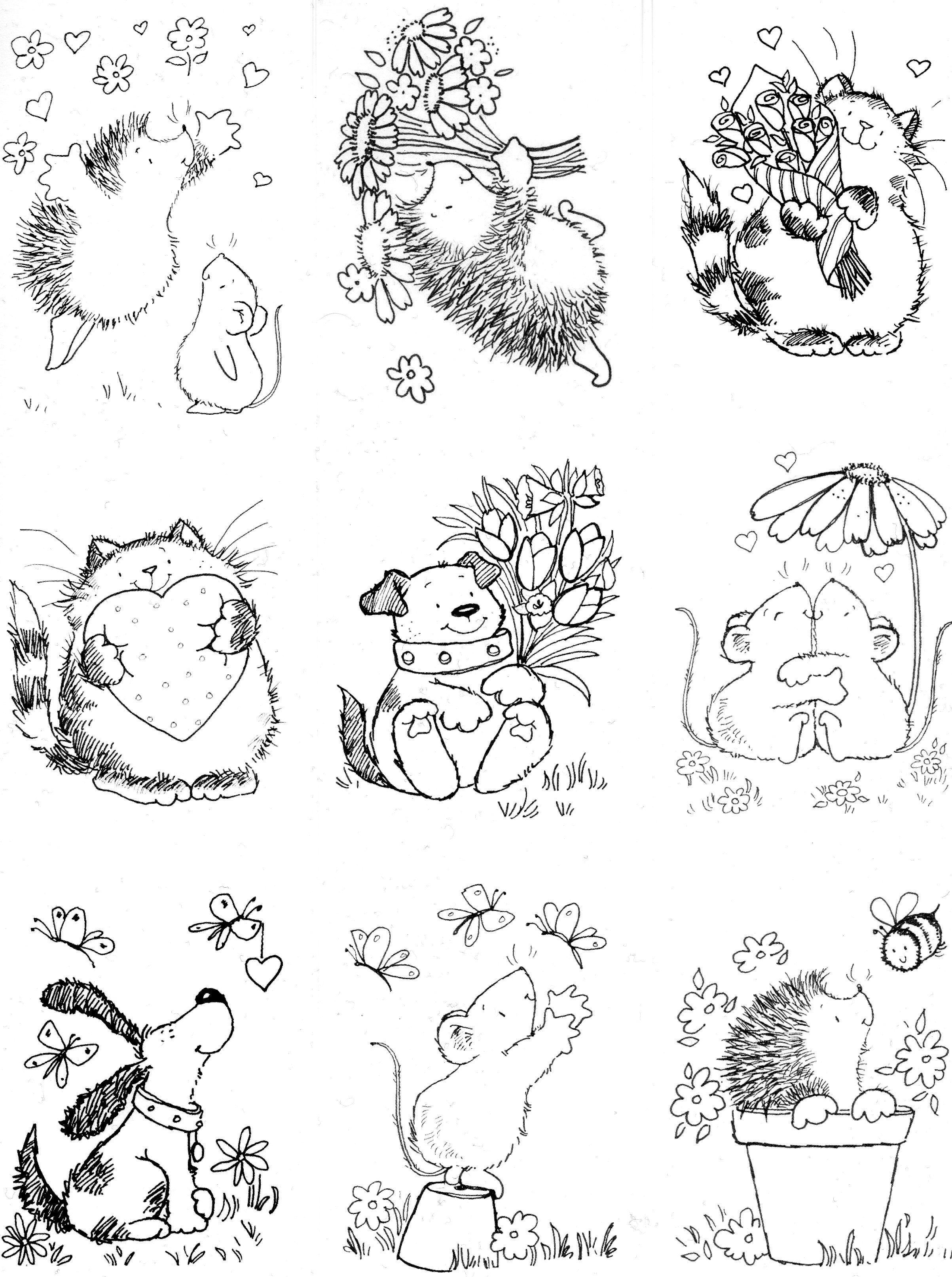 Cute digistamps | digis | Pinterest | Hausmaus, Ausmalbilder und ...