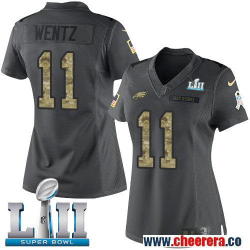 78d94e6e Nike Eagles 11 Carson Wentz Anthracite Women 2018 Super Bowl LII Salute to  Service Limited Jersey