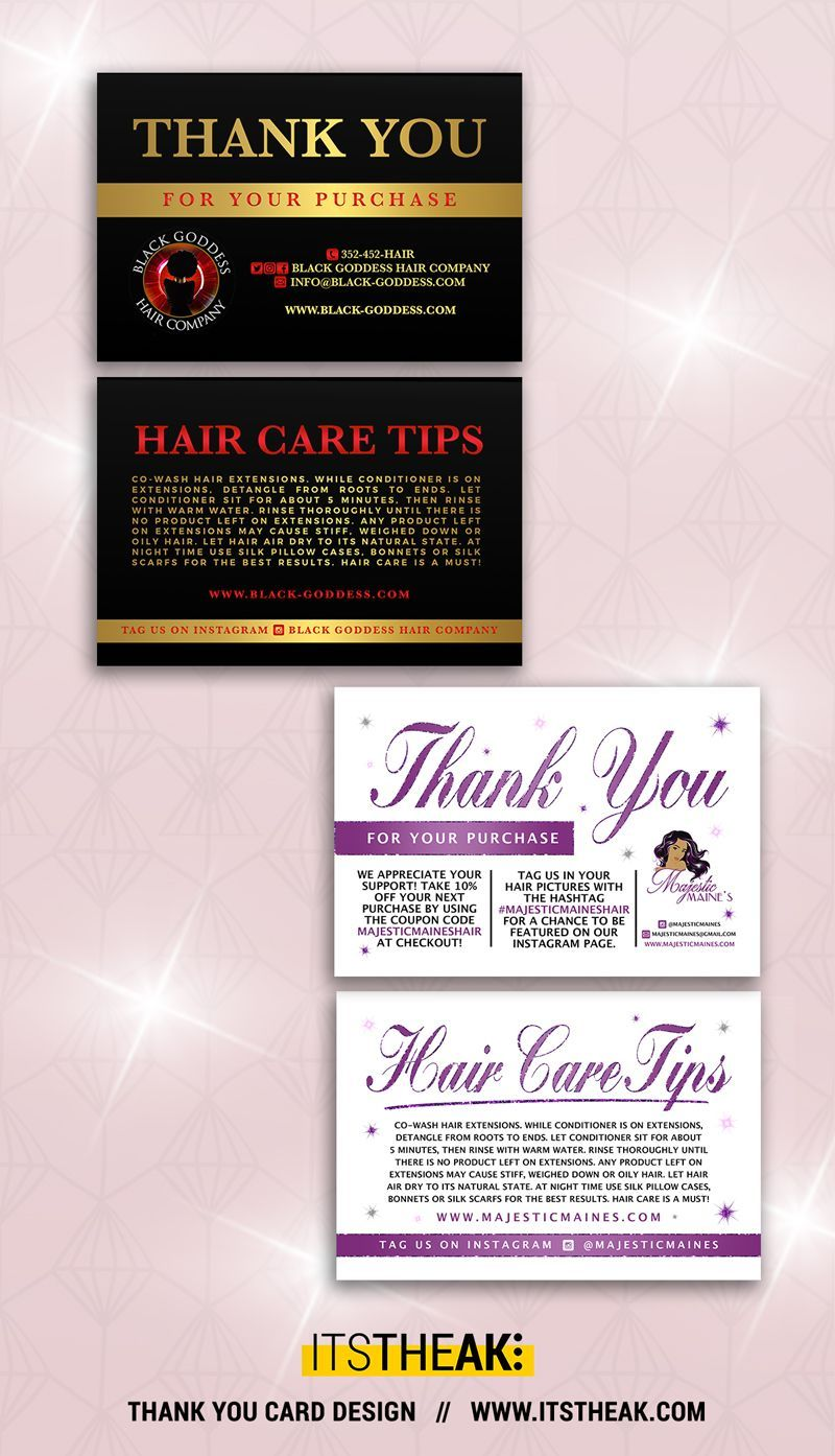 Package Insert With Images Hair Care Tips Thank You Card