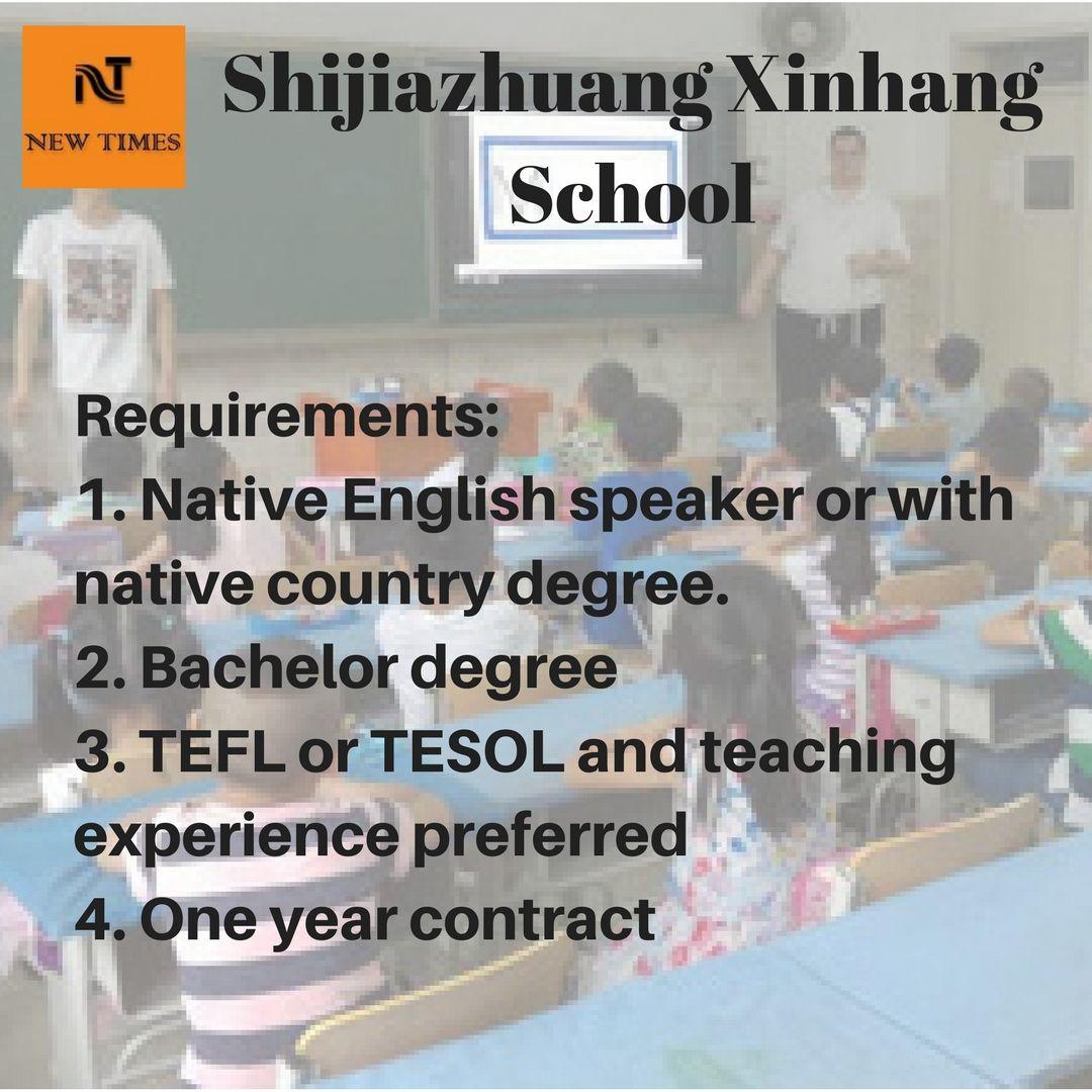 Shijiazhuang Xinhang school Native English speaker or with