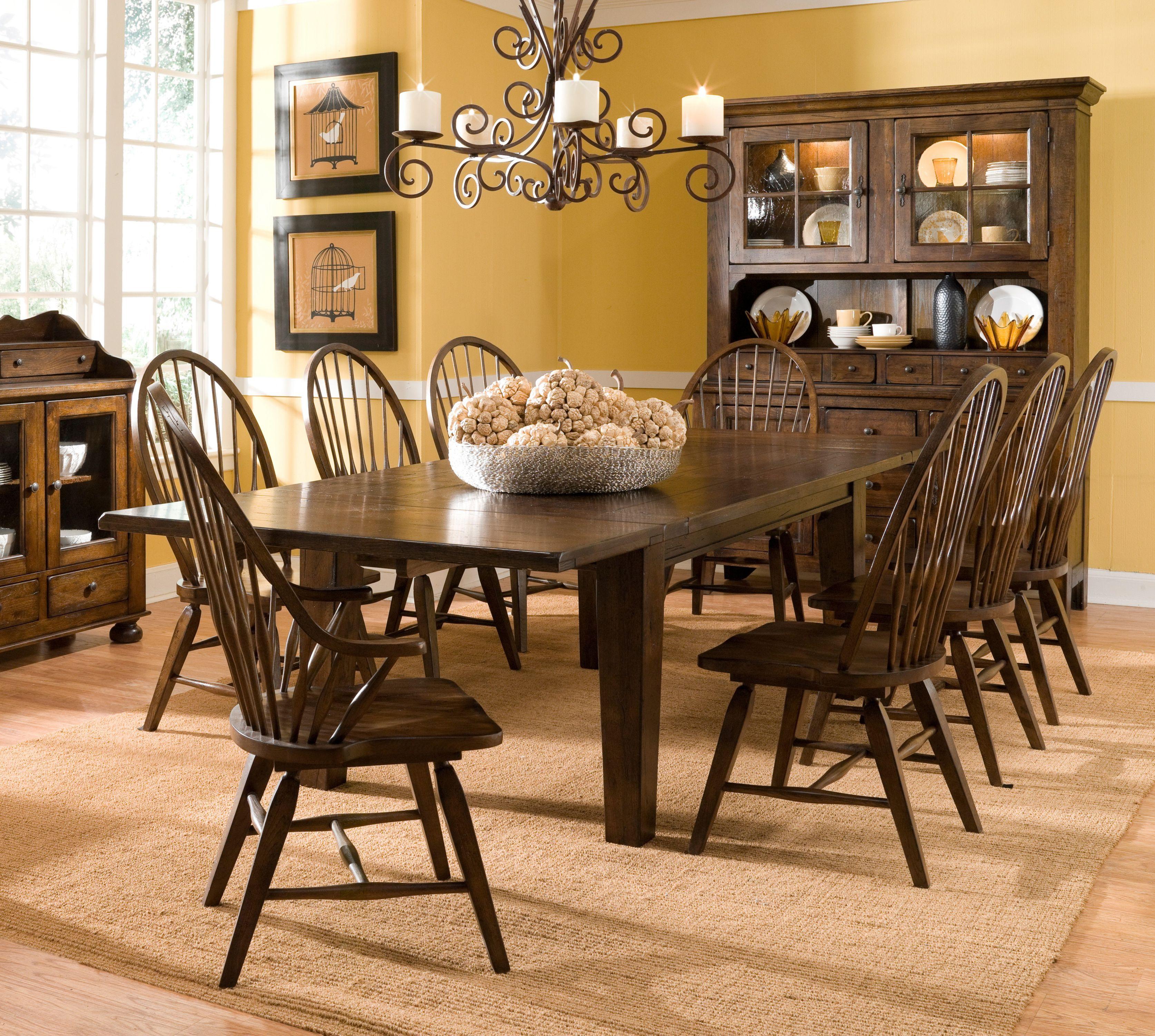 Broyhill Attic Heirlooms Rustic Oak Rectangular Leg Dining Table