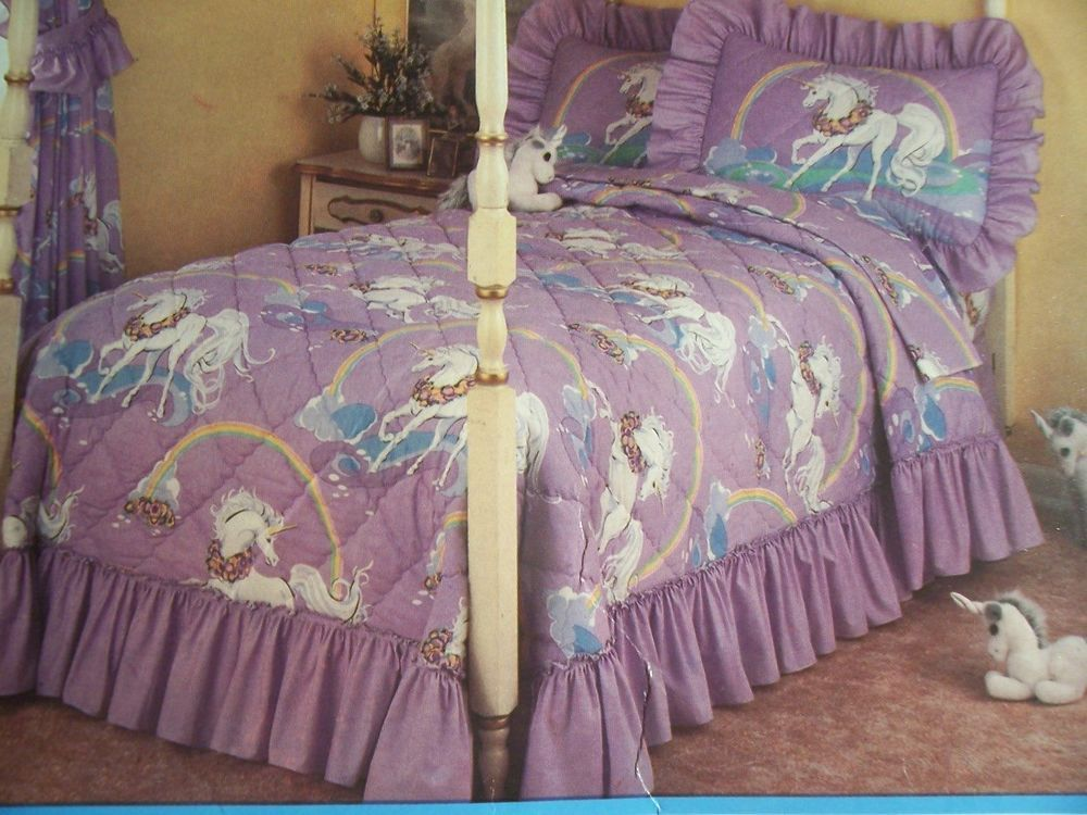 Vtg Bedspread Blanket 80 S Unicorns Rainbows Full Sears Usa