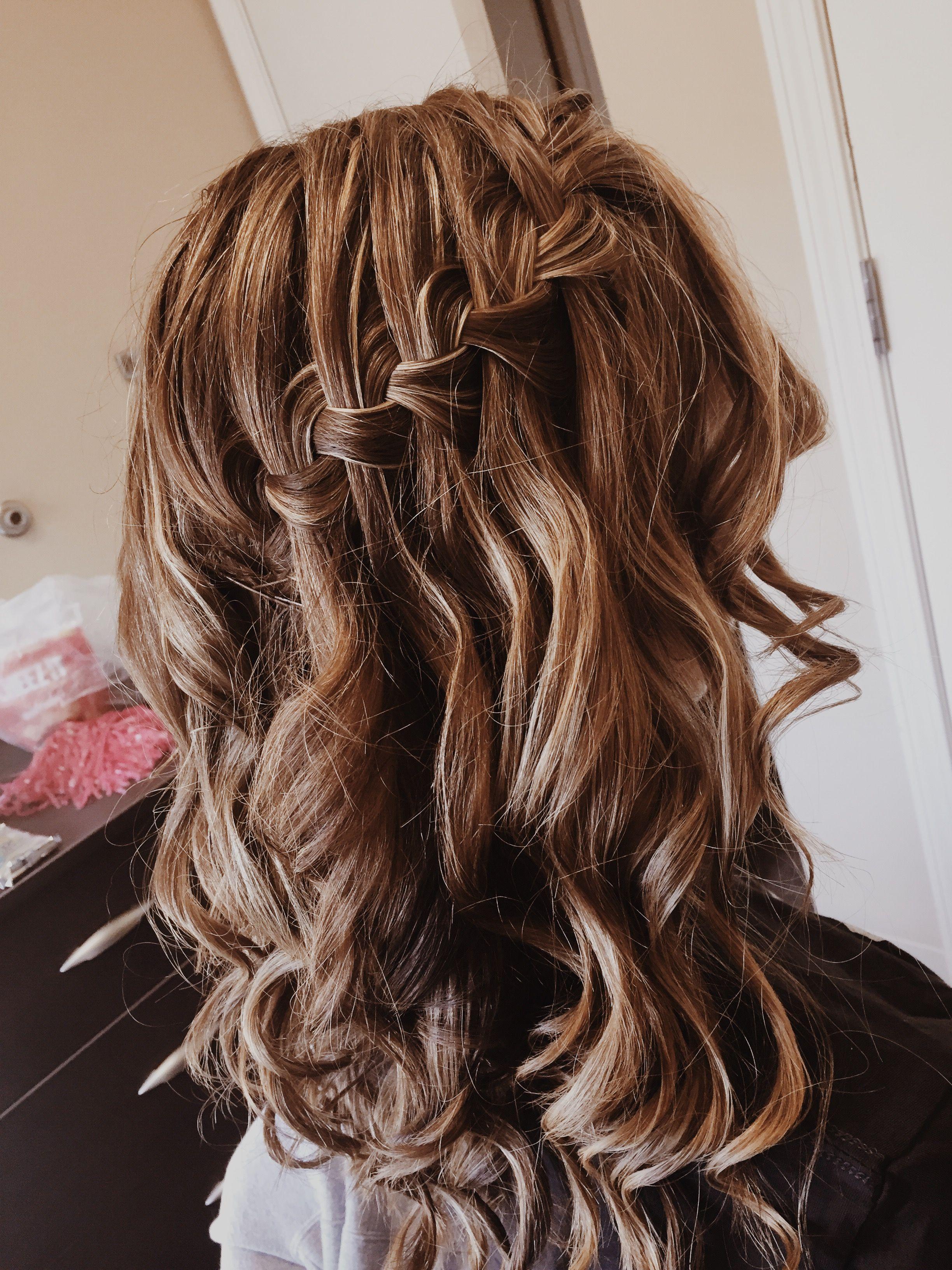 hair goals | curls | prom hair | waterfall braid | blonde ...