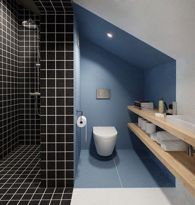 Peinture contrastante dans le renfoncement Salle de bain - Peindre Du Carrelage Mural Salle De Bain