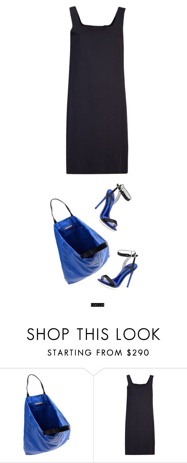 """LSD"" by fabuluz ❤ liked on Polyvore featuring Marni, BCBGMAXAZRIA, Maison Margiela, bcbgmaxazria, marni large leather bag and mm6 by maison martin margiela sleeveless dress"