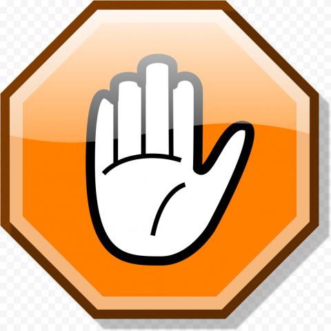 Hd Stop Hand Symbol On Orange Road Sign Clipart Png Hand Symbols Road Signs Clip Art