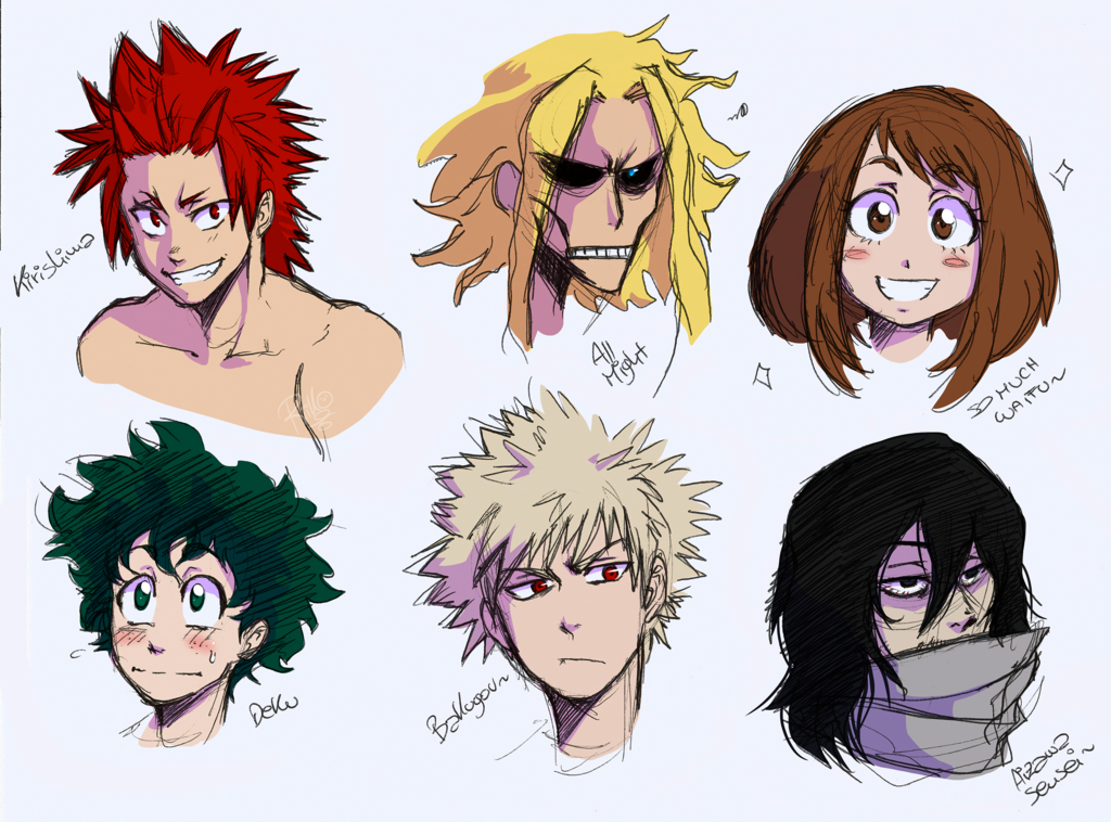 BNHA characters doodles by Riiko96 on DeviantArt (With