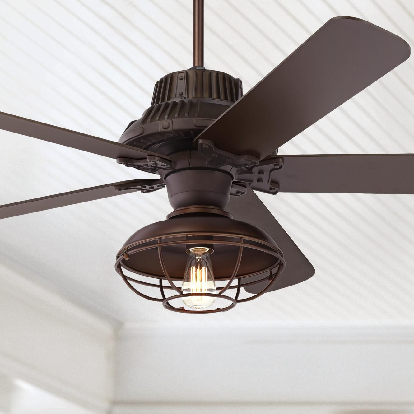 Ceiling Fans 60 Industrial Forge Led Outdoor Ceiling Fan In 2020 Outdoor Ceiling Fans Ceiling Fan Industrial Ceiling Fan