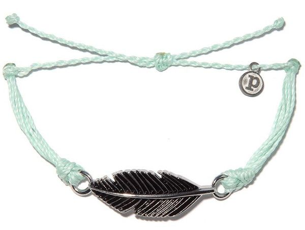 """Our silver """"Feather"""" charm is the ideal bracelet to add to your Pura Vida collection. Clear as the ocean and..."""