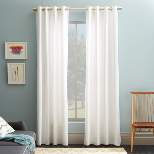 Curtains To Touch The Floor In Living And Dining Room Cotton Canvas Grommet Curtain