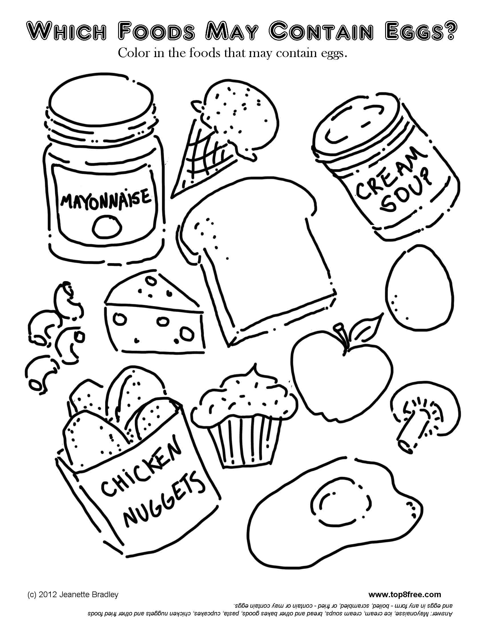 Egg Allergy Coloring Page Food coloring pages, Black