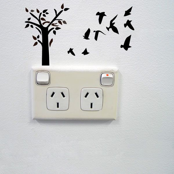 Best Fun And Playful Landscape Of Tree And Birds Wall Sticker For Creative Power Sockets And Light 400 x 300