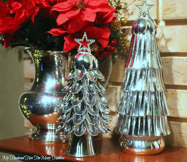 Christmas Tree Crafts.  Dollar Store Crafts.  Dollar Store mini silver plastic spoons are used to make these Christmas Cone Trees.