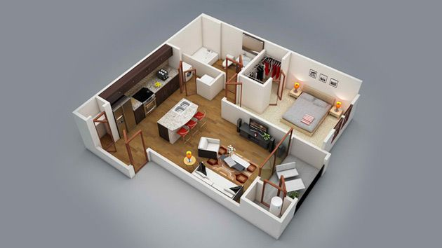 20 One Bedroom Apartment Plans for Singles and Couples Dormitorio