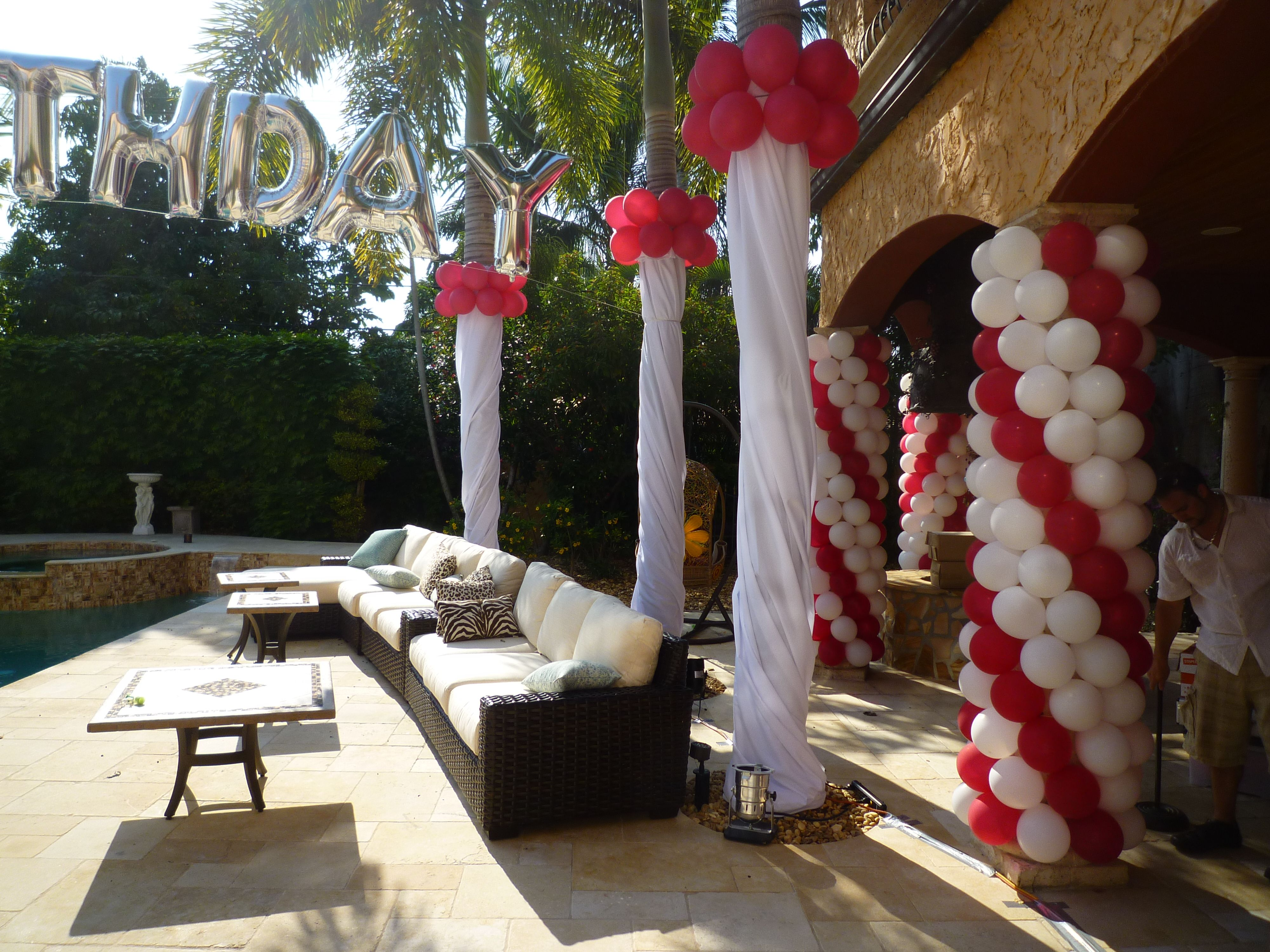 Pillar Wrapping By Balloons Backyard Birthday Party Balloon Decoration Www Dreamarkeven Balloon Decorations Party Backyard Birthday Parties Backyard Birthday