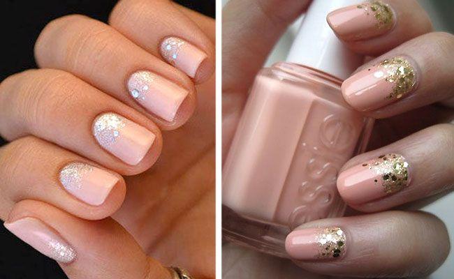 Маникюр со стразами на короткие ногти розовый лак фото