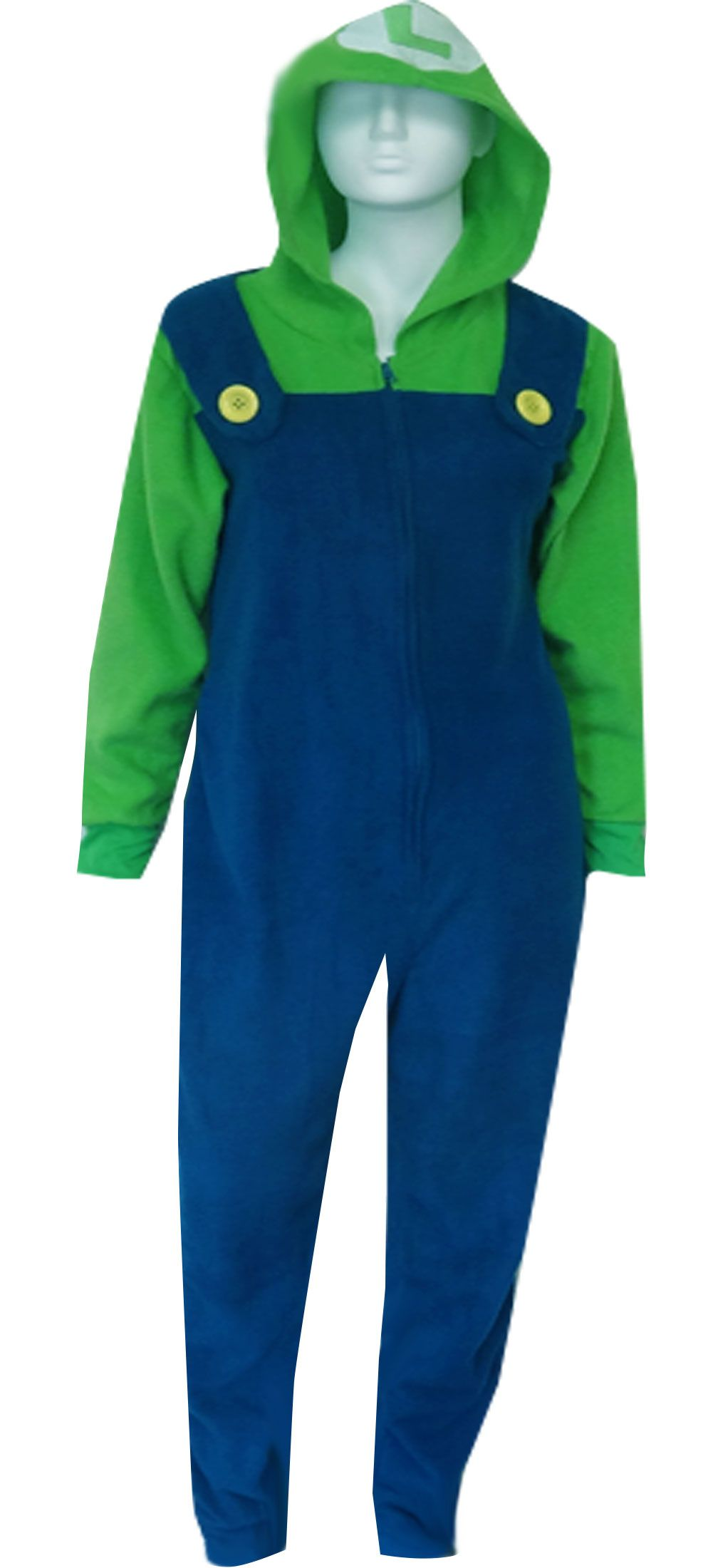 c5d5613a WebUndies.com Nintendo Super Mario Brothers Luigi Hooded Onesie Pajama