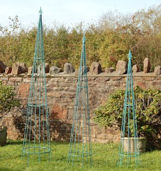 Wessex Forge   Classical Pointed Garden Obelisk, Handmade Wrought Iron