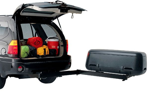 Swinging enclosed cargo carrier for 2 trailer hitch
