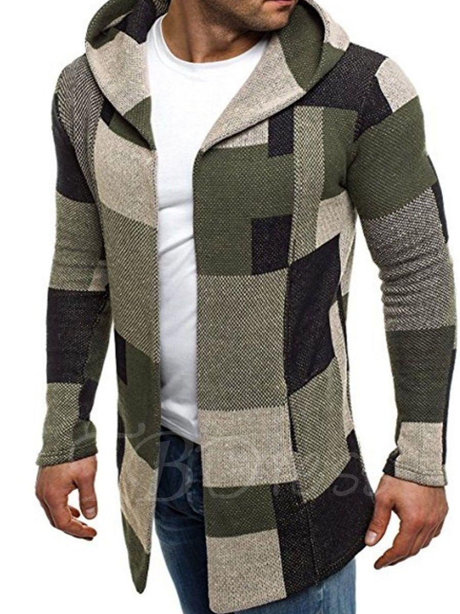 Hooded patchwork plaid slim cardigan menus hoodie
